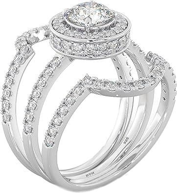 925 Silver Round Cut Halo Design Wedding Engagement Bridal Ring