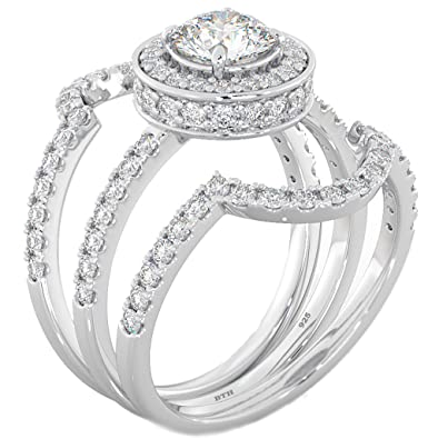 Ladies Ring Halo Design 3 Piece 925 Sterling Silver Luxury Affordable  Wedding Engagement Bridal Ring