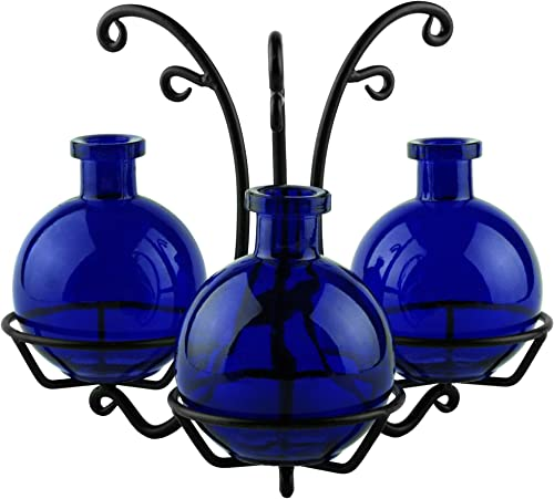 Couronne Company M513-6544G15 Ball Three Recycled Glass Vases Metal Stand, 7 3 4 , Cobalt Blue, 1 Piece
