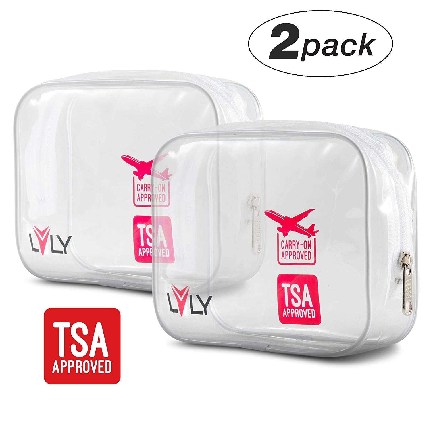 TSA Approved Quart Size Toiletry Bag – Clear for Travel Size Toiletries Shaving Kit or Makeup and Cosmetic Accessories – For Women or Men by LVLY
