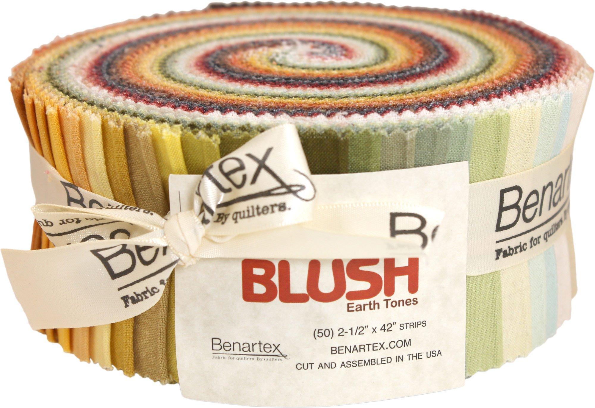 Shadow Blush Earthtones Pinwheel 50 2.5-inch Strips Jelly Roll Benartex