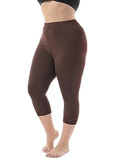 3983b5f10a7bd3 Zerdocean Women's Plus Size Modal Basic Capri Leggings with Hem Lace Trim