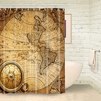 foog duschvorhang plateau peep toe weltkarte bad vorhnge kompass duschvorhang badezimmer gelb stoff vorhang mit dusche - Stoff Vorhang Dusche
