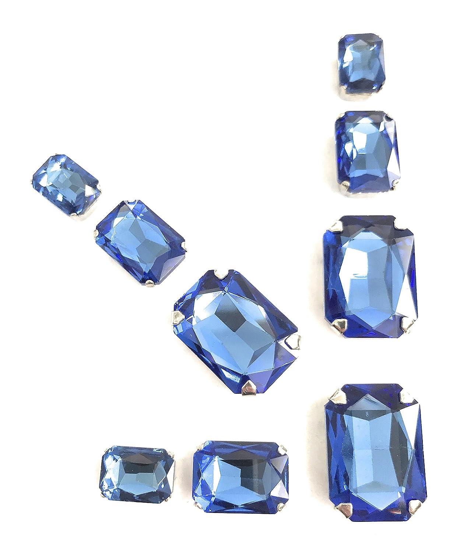 5 Zero/® pierres /à coudre de 9/pi/èces avec m/étal en cristal de couleur saphir 3/pi/èces mm 10/x 14/+ 3/pi/èces mm 18/x 13/+ 3/pi/èces mm 25/x 18