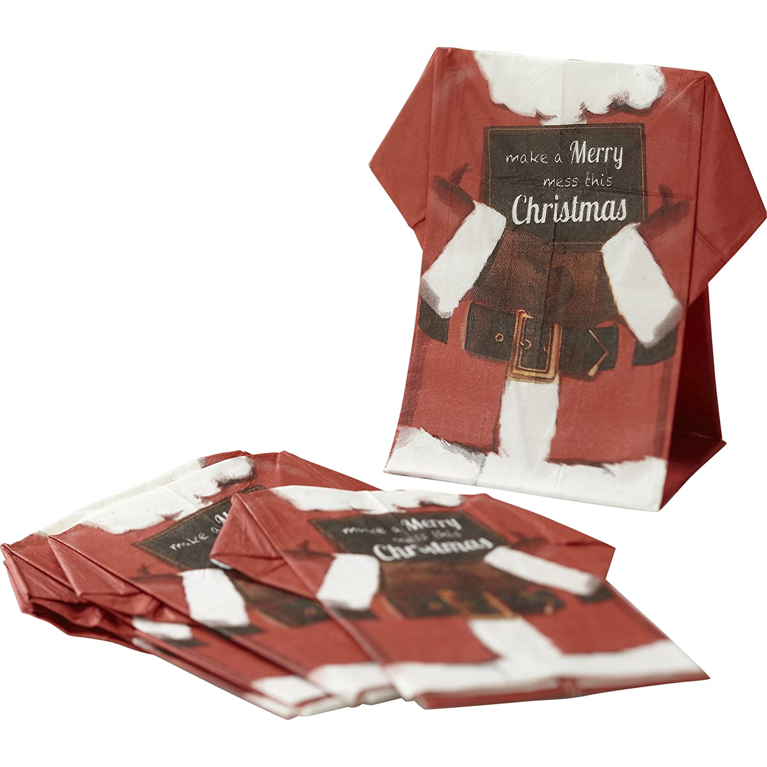 Ginger Ray Vintage Christmas Paper Napkins in Shape of Santa Shirts
