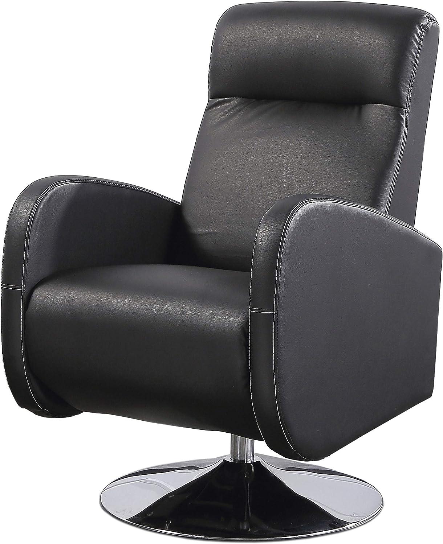 Sillón Relax Giratorio, tapizado en símil Piel Color Negro, butaca Descanso, Medidas: 70 cm (Ancho) x 77 cm (Fondo) 102 cm (Alto)