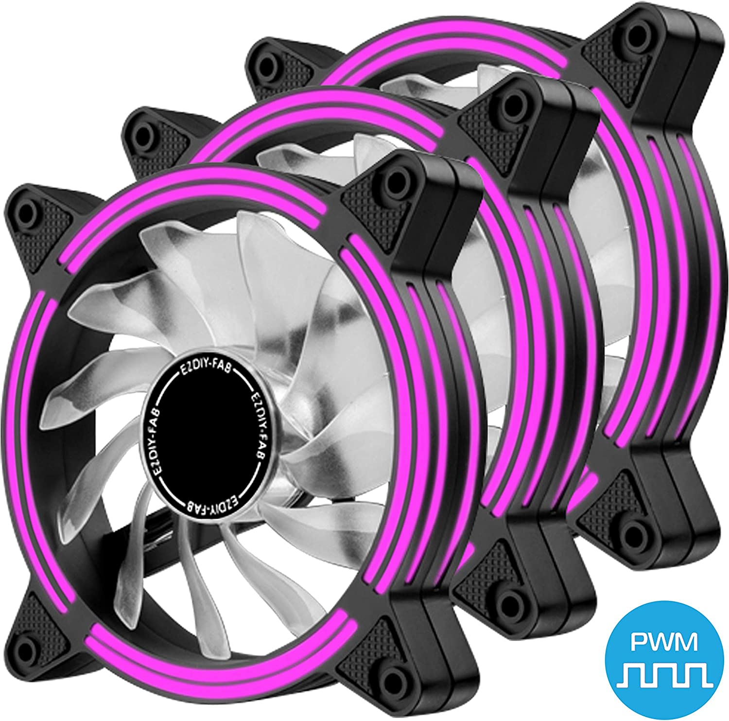 EZDIY-FAB 120mm PWM Purple LED Fan, Dual-Frame LED Case Fan for PC Cases, High Airflow Quiet,CPU Coolers, and Radiators,4-Pin-3-Pack