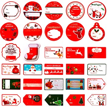 amazon com aozer christmas self adhesive gift tags santa snowmen