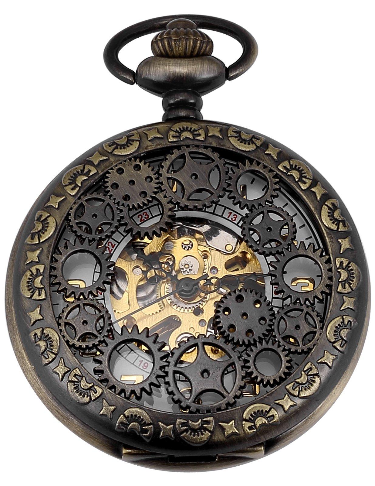 AMPM24 Mechanical Pocket Watch Skeleton Bronze Alloy Case WPK221