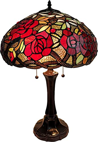 Amora Lighting Tiffany Style Table Lamp Banker 24″ Tall Stained Glass Yellow Brown Red Floral Roses Vintage Light D cor Nightstand Living Room Bedroom Office Handmade Gift AM1535TL16B