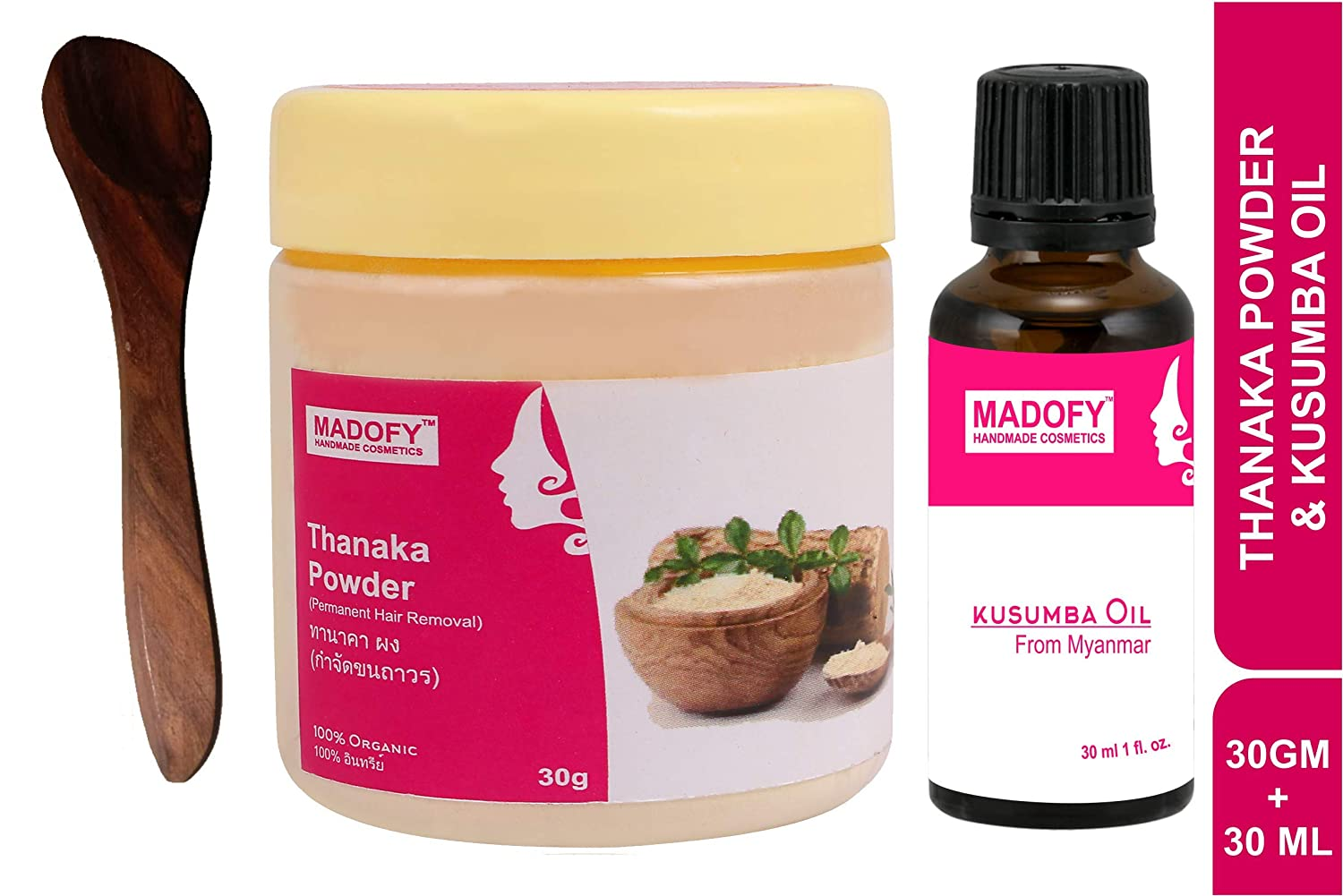 Madofy Grade a pure natural thanaka (tanaka) powder 30gm kusumba oil 30ml for permanent hair removal, anti aging,acne,blemish, skin whitening, soft smooth skin face scrub, sunscreen, face mask