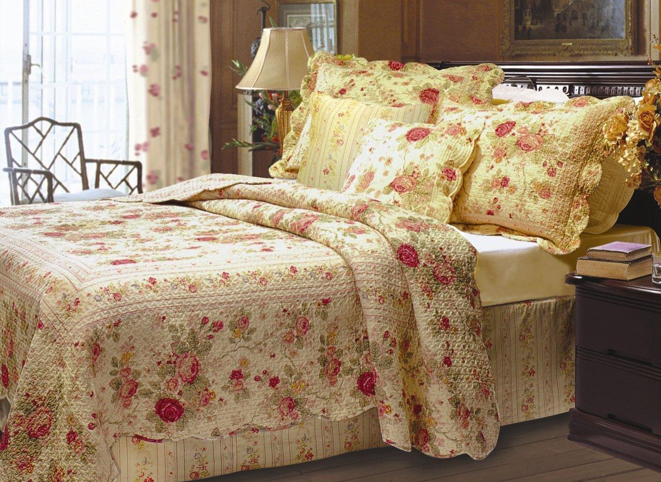 Amazon.com: Greenland Home Antique Rose Bonus Quilt Set, King: Home ...