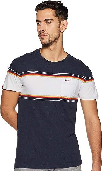 Superdry de los Hombres Camiseta de Etiqueta Naranja con Cinta de Pecho, Azul