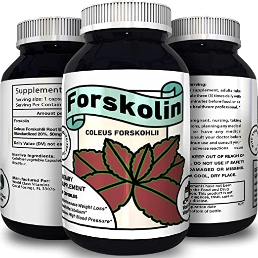 Forskolin Weight Loss Supplement for Men and Women – Burns Body Fat and Boosts Metabolism – Natural Pure Coleus Forskohlii Extract – Standardized 20% Forskolin – 60 Capsules by World Class Vitamins