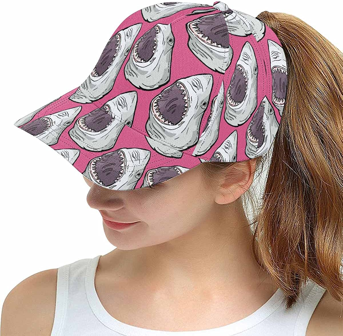 INTERESTPRINT Angry Shark Fish Head with Pink Unisex Hip Hop Outdoor Sport Snapback Hats