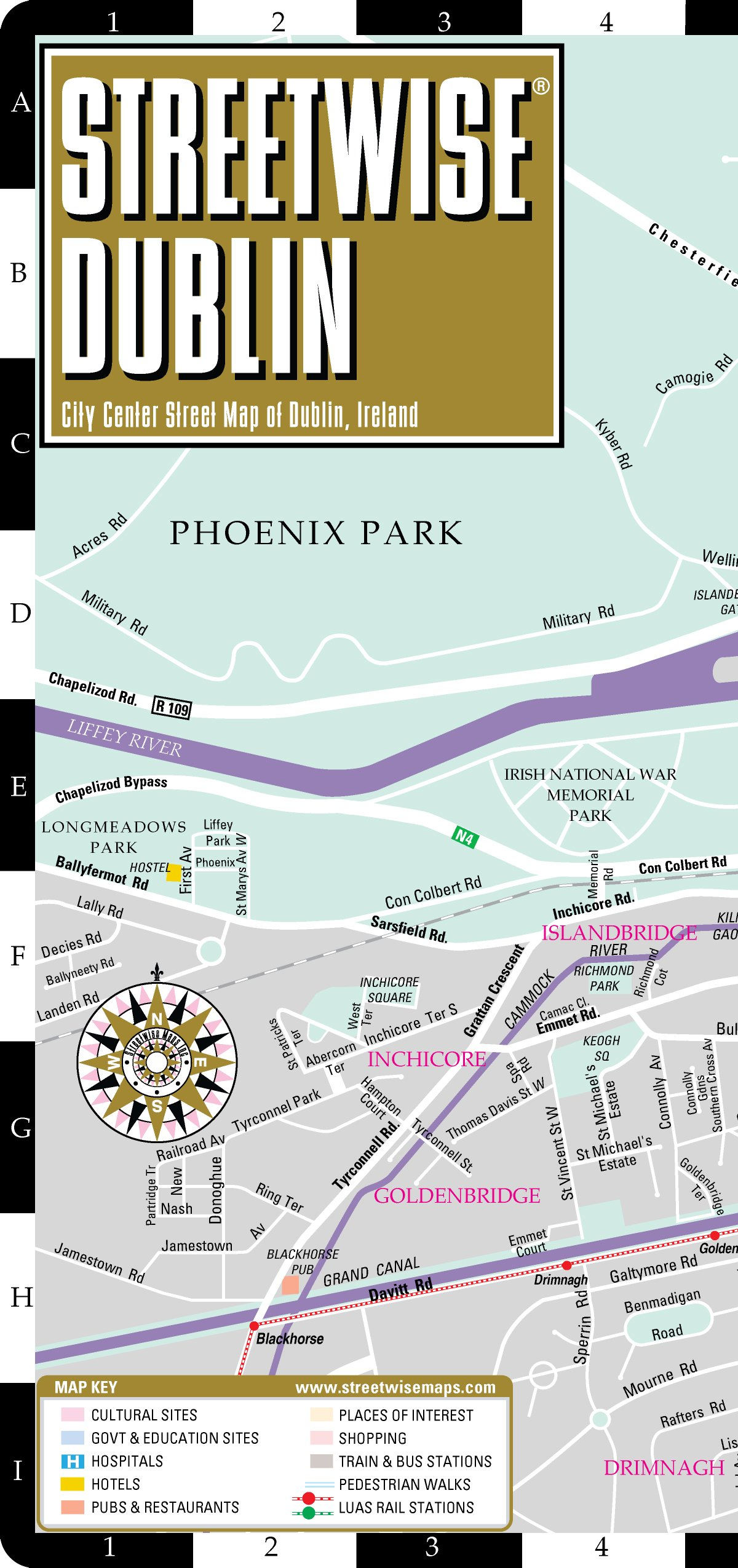 Map Of Dublin Ireland And Surrounding Area.Streetwise Dublin Map Laminated City Center Street Map Of Dublin