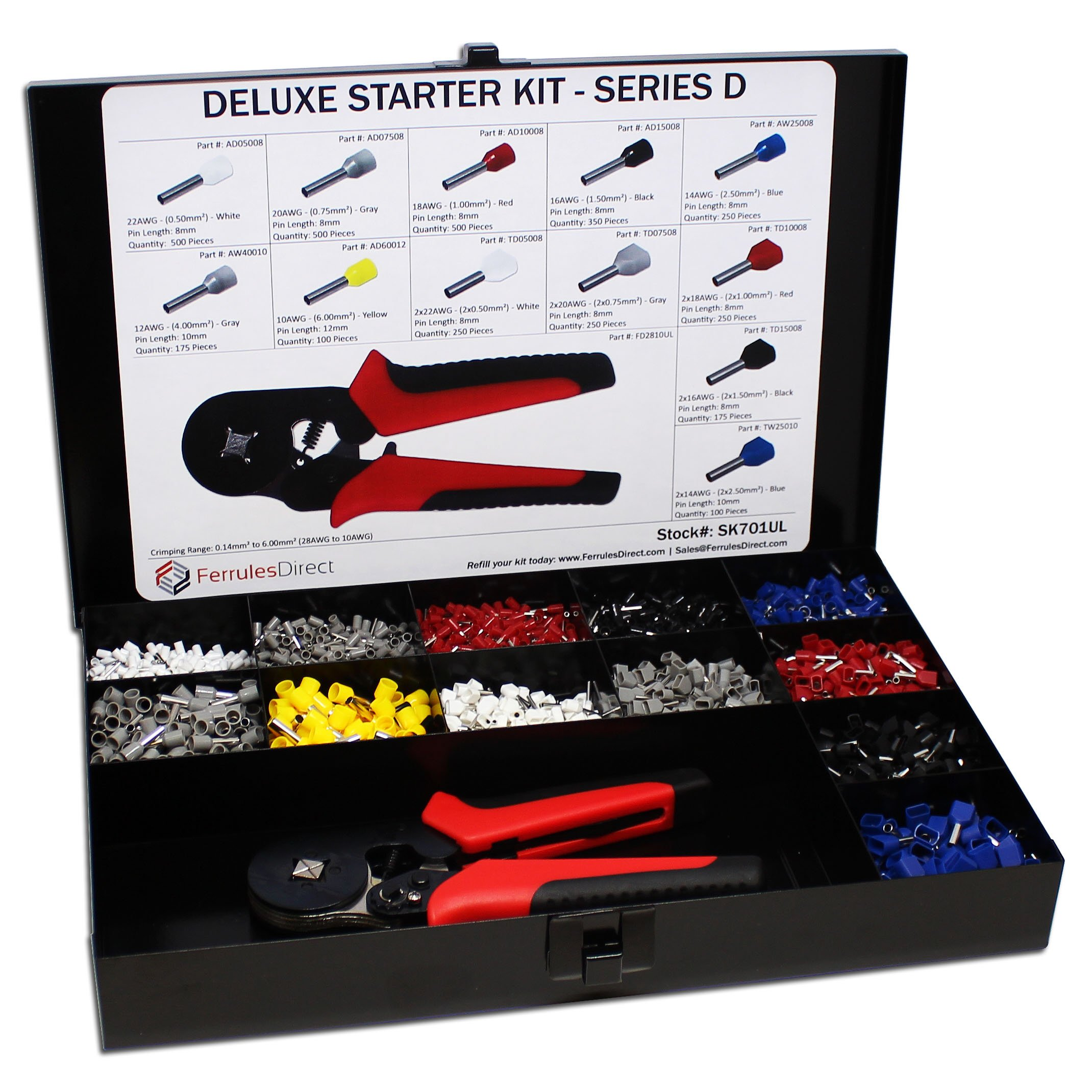 3450 Piece Wire Ferrules Starter Kit with Self Adjusting Tool 22 AWG to 10 AWG Insulated Connectors-SK701UL