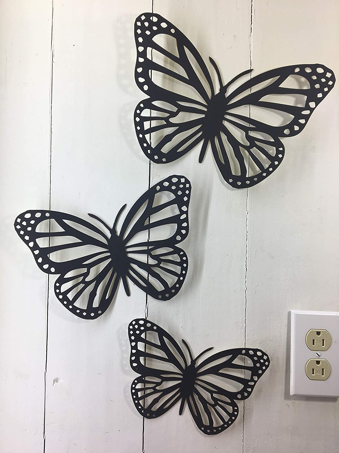 3 Butterflies - Large Butterfly Approx 11 x 8 inches - This is NOT Vinyl Decal or Peel Stick - 1/16 inch Thick matboard - Easily Tak-it-Up with Plasti-Tak provided Removable Paintable Wall Décor