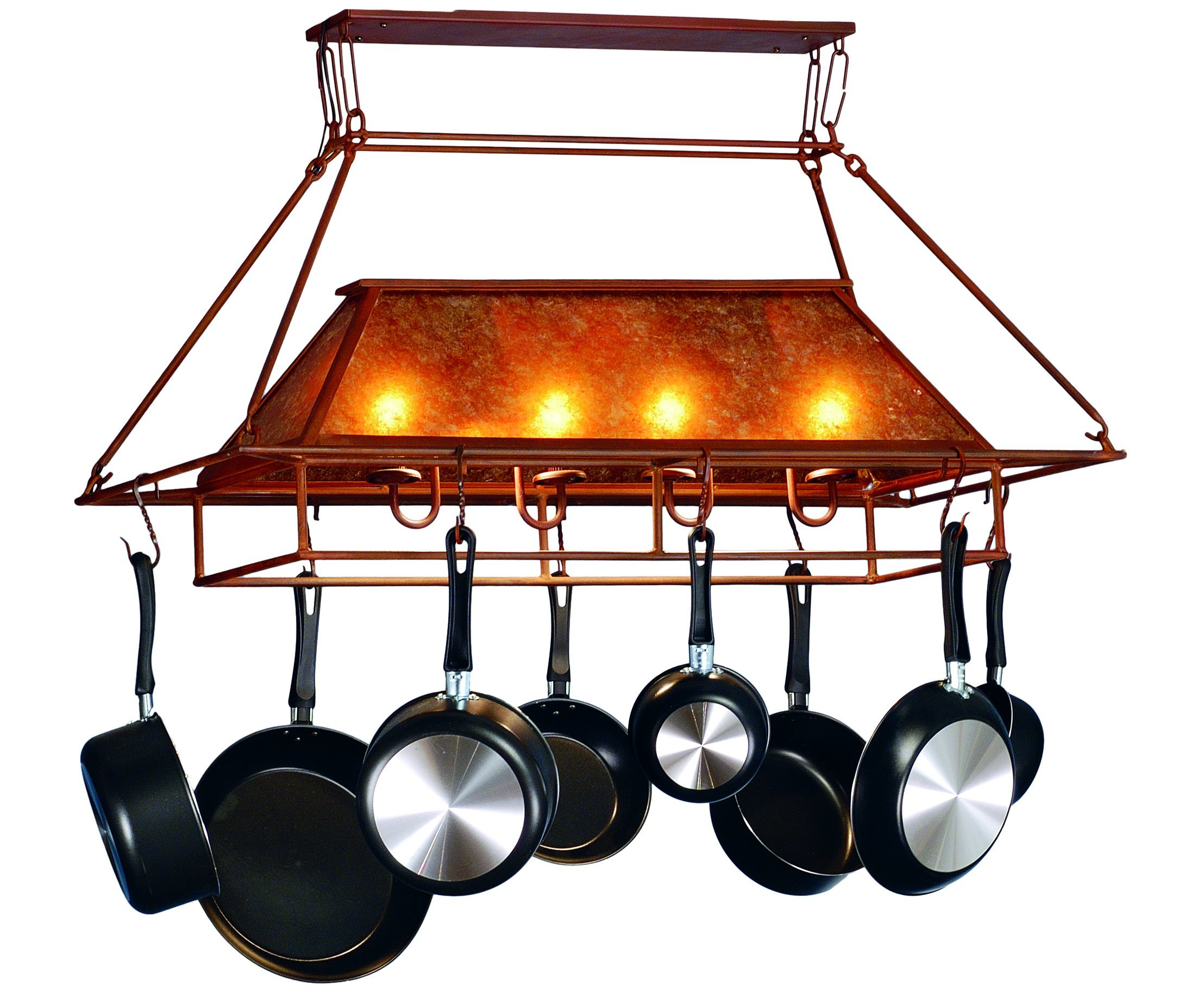 Meyda Tiffany Custom Lighting 77830 Simple Mission 2-Light Pot Rack, Rust Finish with Amber Mica Panels