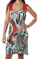 Laceback Short Summer beach Sundress coverup - Enchanting Paisley ( sizes S-3X)