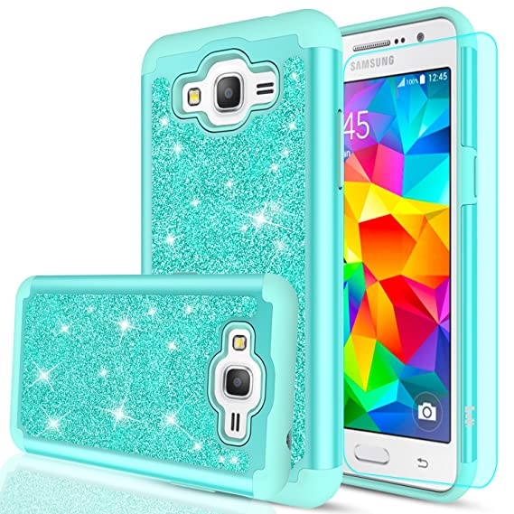 new product 79343 52618 Galaxy Grand Prime Case, J2 Prime Case with HD Screen Protector,LeYi  Glitter Girls Women Design [PC Silicone Leather] Dual Layer Heavy Duty  Protective ...