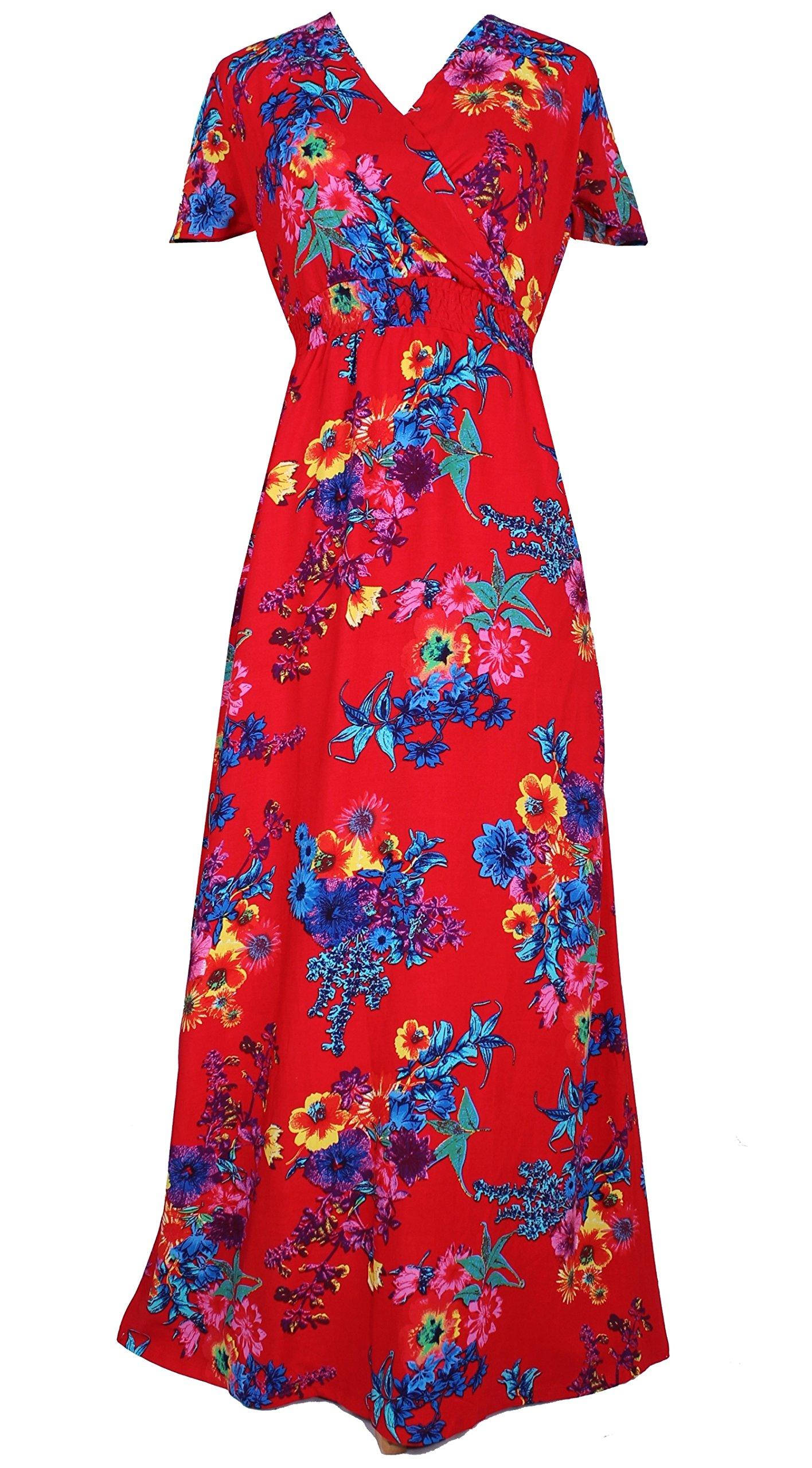 Women Black Summer Dress Maxi Plus Size Graduation Chiffon Gift Long Sleeveless Sexy Floral Sundress (3X, Red/Blue Floral)
