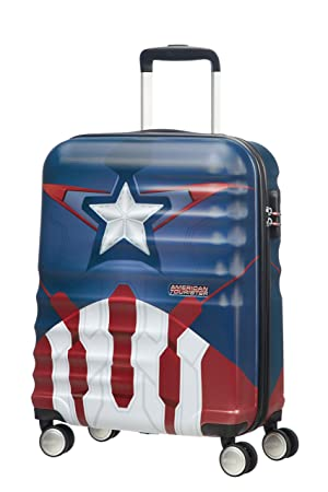 American Tourister Disney Wavebreaker Marvel - Maleta, Cuatro Ruedas, Multicolor (Captain America Close-Up), S (55cm-36L): Amazon.es: Equipaje