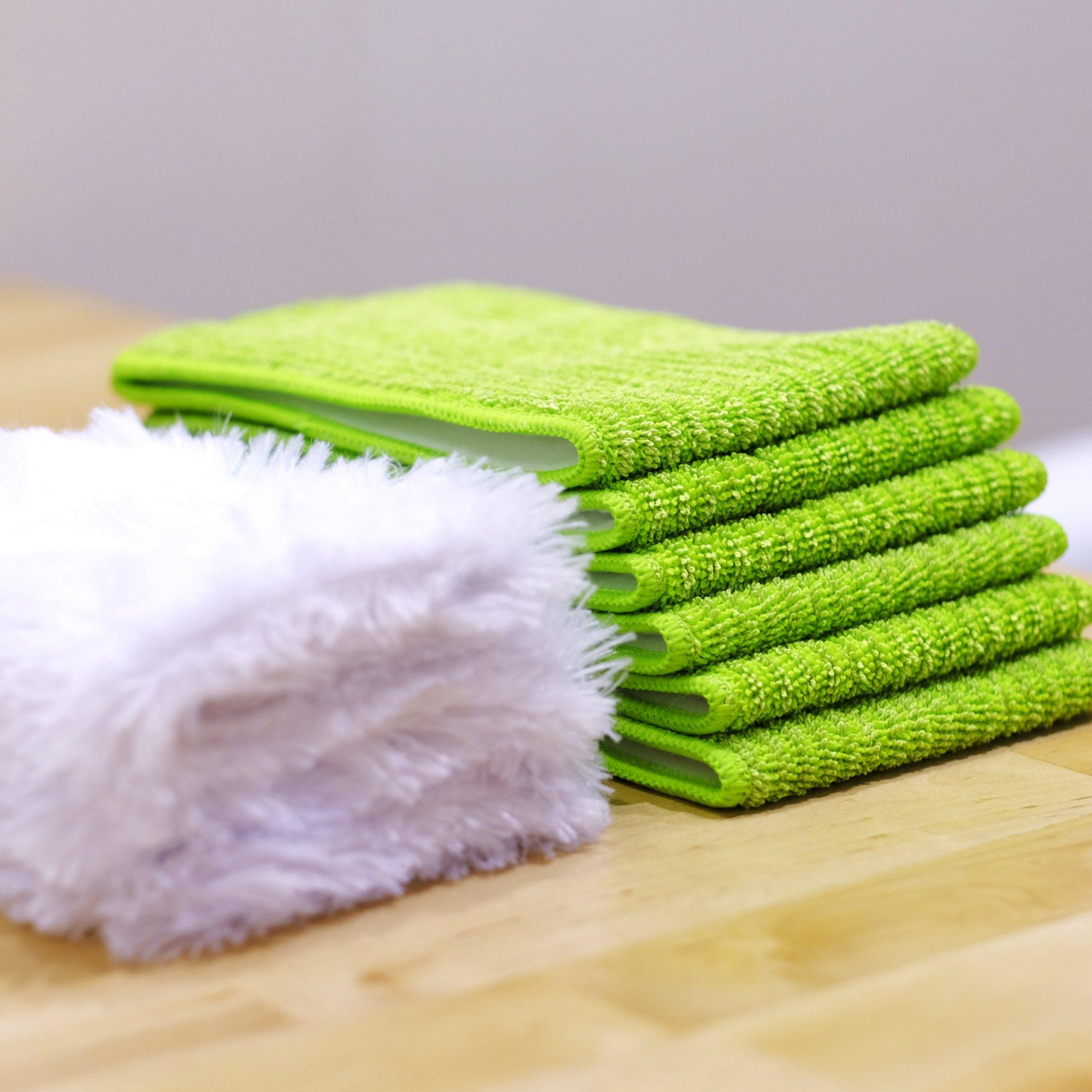 Microfiber Mop 18inch Velcro Wet & Dry Mop Refill for Hardwood Floors Set of 8 by Bear Family by Bear Family Microfiber (Image #4)