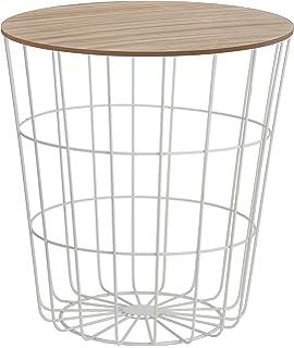 Beistelltisch Tisch Mit Stauraum 39 Cm H41 Metall Holz Nachttisch Weiss