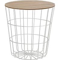 Meinposten Beistelltisch Tisch mit Stauraum Ø 39 cm H=41 cm Metall/Holz Nachttisch weiß