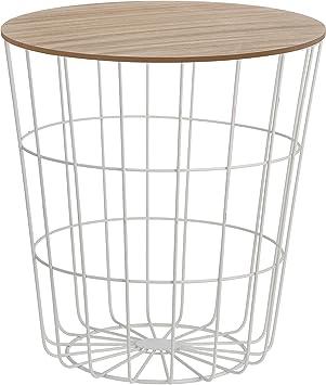 Beistelltisch Tisch mit Stauraum Ø 39 cm H=41 cm Metall/Holz ...