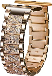 VIQIV Bling Bands for Compatible with Apple Watch Band 38mm 40mm 42mm 44mm iWatch Series 5/4/3/2/1, Luxury Diamond Bracelet Metal Wristband Strap for Women