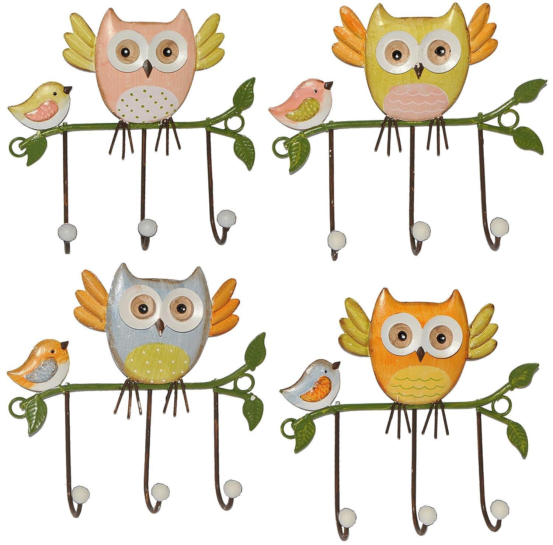 1 Stück: Garderobenhaken Eulen aus Metall - Wandhaken Kindergarderobe mit 3 Kleiderhaken Kind Wandgarderobe - für Innen und Außen - bunte Eule Vögel Tiere Kinder-Land