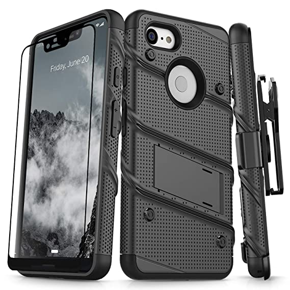 reputable site ee492 ef543 Zizo Bolt Series Compatible with Google Pixel 3 XL Case Military Grade Drop  Tested with Full Glass Screen Protector Holster and Kickstand Black Black