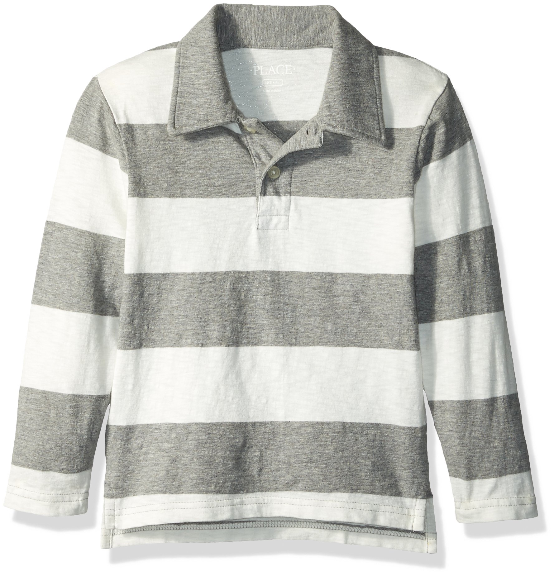 The Children's Place Big Boys' Long Sleeve Rugby Stripe Polo, H/T Smoke, L (10/12)
