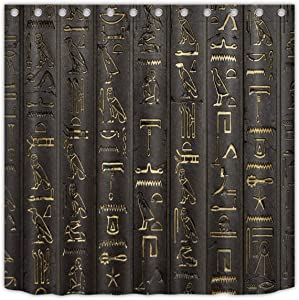 Abaysto Ancient Egyptian Hieroglyphics Alphabet Symbols Cool Egypt Letters Drawing Home Decor Shower Curtain Sets with Hooks Polyester Fabric Great Gift