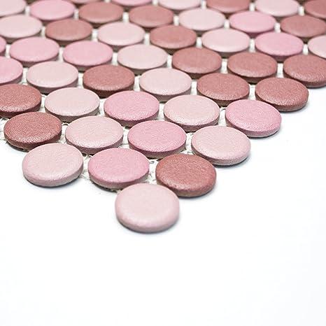 Fliesen Mosaik Mosaikfliese Keramik Knopf Mix Altrosa Rutschhemmend