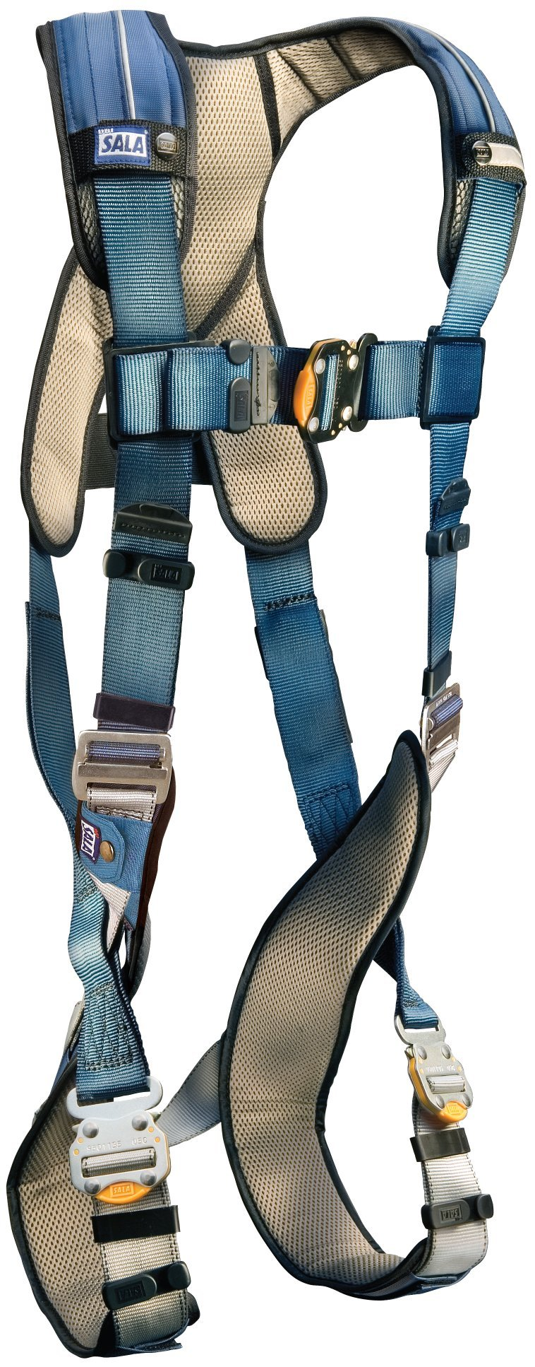 3M DBI-SALA, ExoFit, 1110102 Fall Protection Full Body Harness, with Back D-Ring, Quick Connect Buckle Legs, 420  lb. Capacity, Large, Gray/Blue