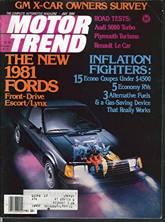 MOTOR TREND Audi 5000 Turbo TC3 Turismo Renault Le Car road tests 7 1980 at Amazons Entertainment Collectibles Store