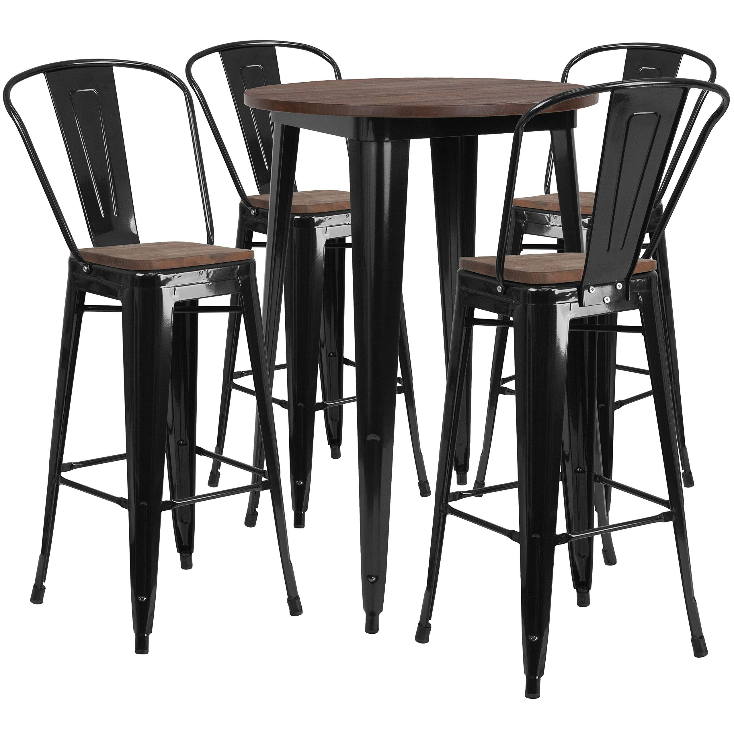 Taylor + Logan Metal / Wood Bar Table and High Back 4-Stool Set, Black by Taylor + Logan