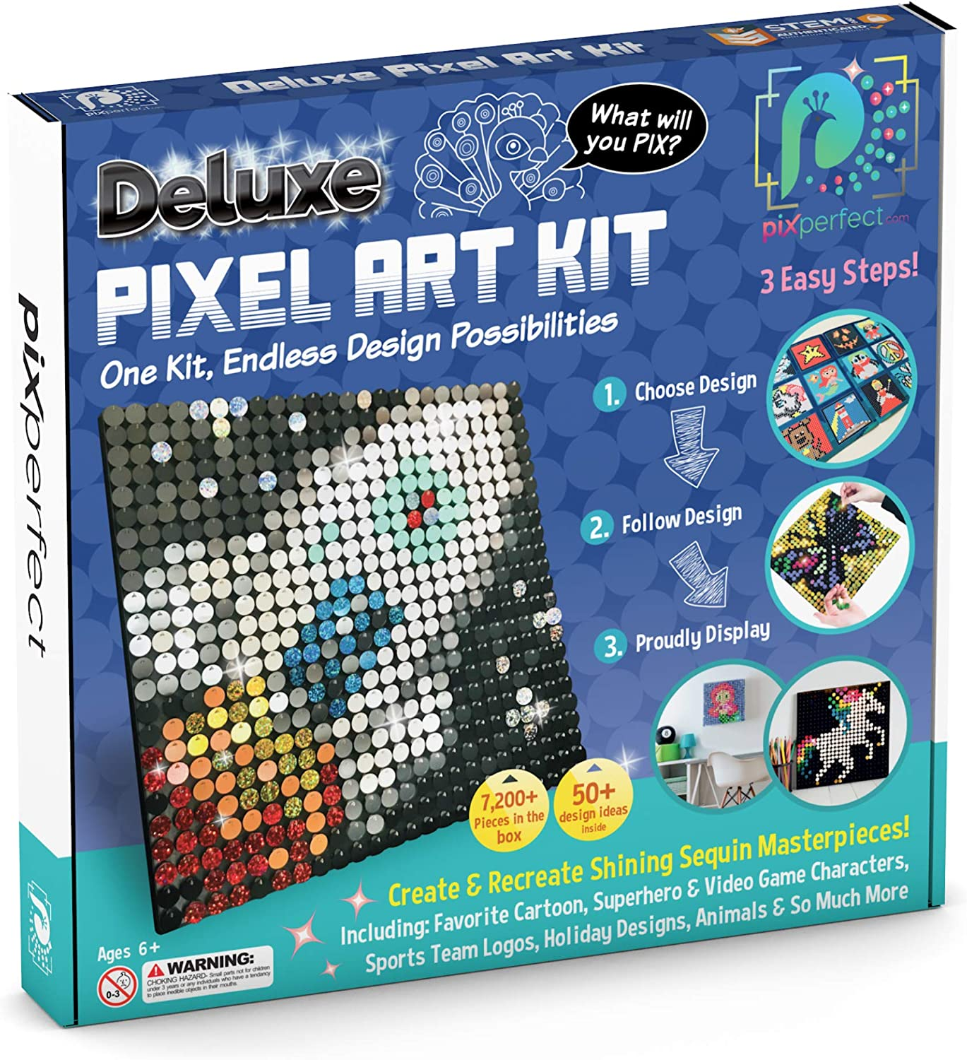 Amazon Com Pix Perfect Deluxe Pixel Art Kit New Version For Fans Of Pixel Art Crafts Or Sequins 18 Colors 7 200 Pieces 50 Design Ideas Hours Of Creative Fun Toys Games