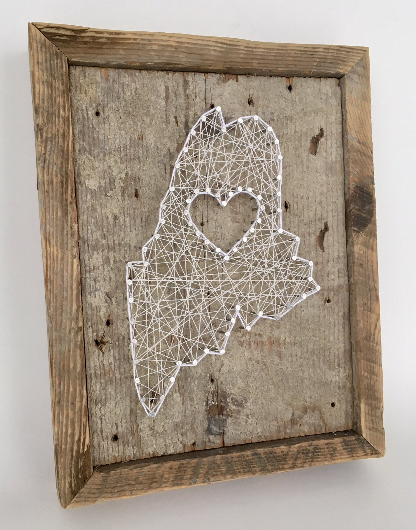 Framed Maine love reclaimed wooden string art sign- A unique Mother's Day, Wedding, Anniversary, Birthday, Valentine's Day, Christmas and housewarming gift.