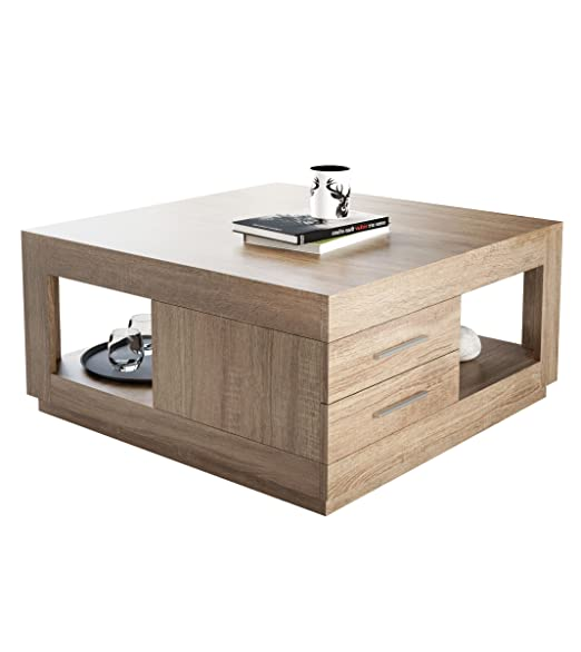 Couchtisch Wohnzimmertisch Braun Holz Sonoma Eiche Quadratisch