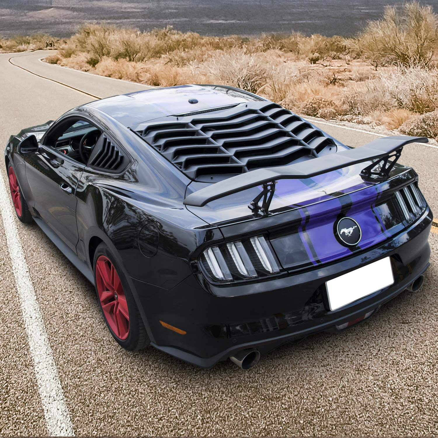 All Weather Matte Black E-cowlboy Rear Window Louver for Ford Mustang 2015~2020 Sun Shade Cover in GT Lambo Style Custom Fit