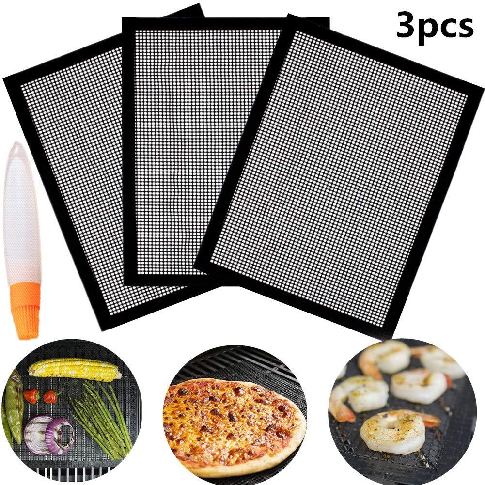 3 PCS + Cepillo Verduras Nifogo Estera Barbacoa,Grill De Malla Resistente Al Calor Parrilla Reutilizable Adecuado para Hornear Carne Pescado Pan