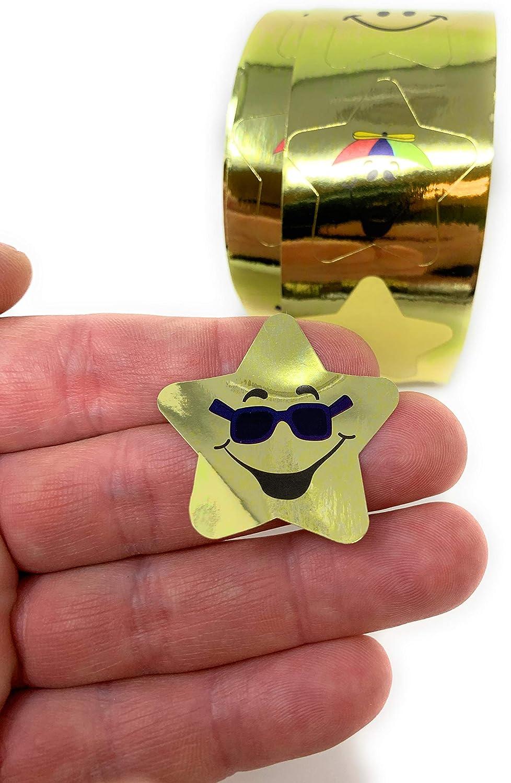 10 Rolls of 100 Stickers Each Funiverse Bulk 1000 Piece Gold Star Sticker Pack