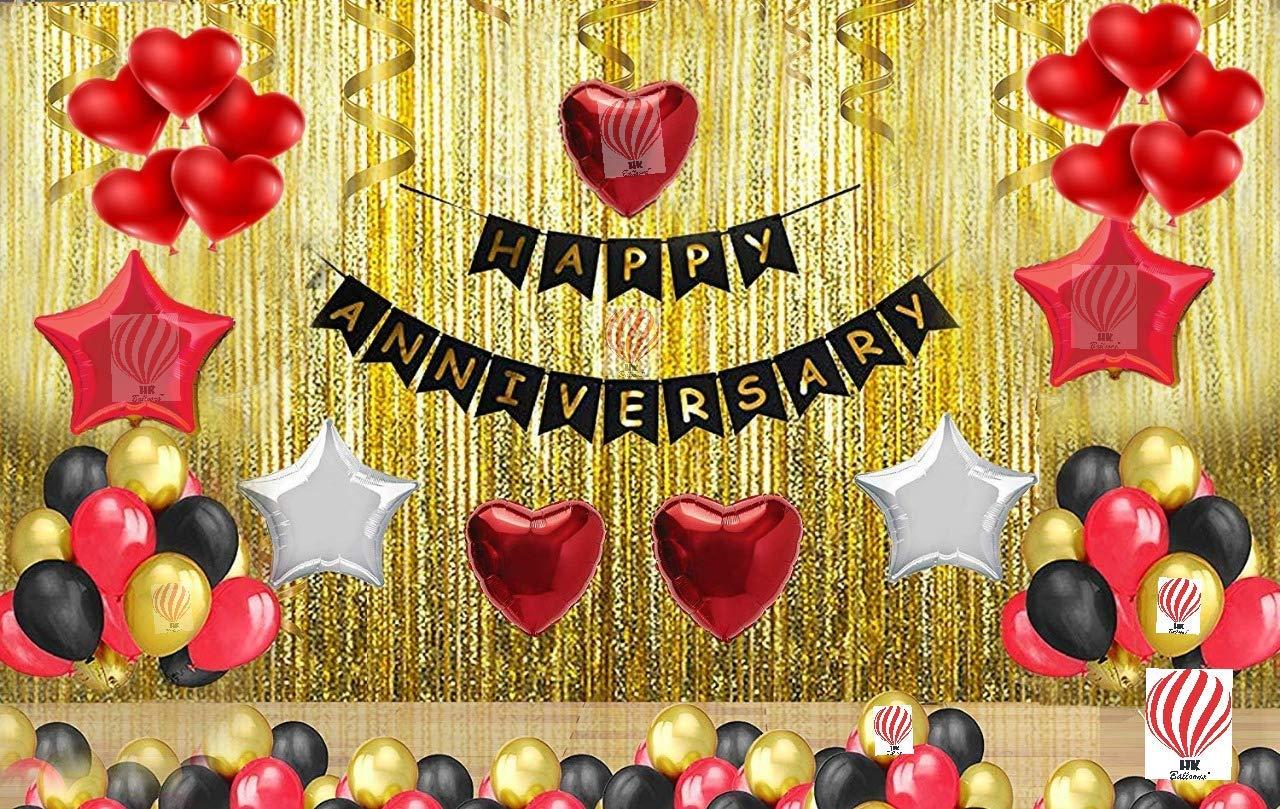 Hk Balloons Happy Anniversary Decoration Set For Anniversary Decorations Multicolor Pack Of 105 Anniversary Decoration Set Amazon In Toys Games