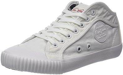 5499b4f3aeaf Pepe Jeans London Damen Industry Plain 18 Sneaker, Weiß (White), 36 ...