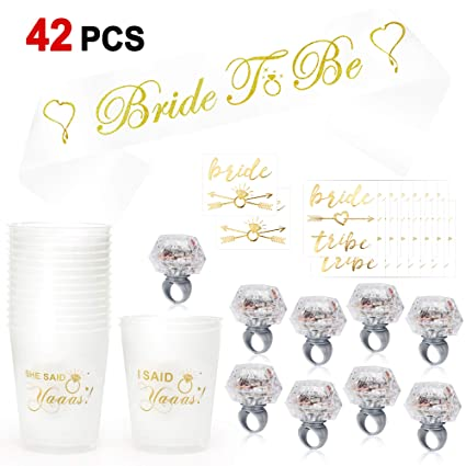 a3ee79819b22f Konsait Bachelorette Party Accessories Wedding Bridal Shower Supplies, She  Said Yaaas Drinking Cups,Led Light up Ring,Bachelorette Tattoos,Bride to Be  ...