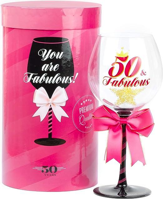 Amazon.com: Fabuloso vaso de vino de cumpleaños para mujer ...
